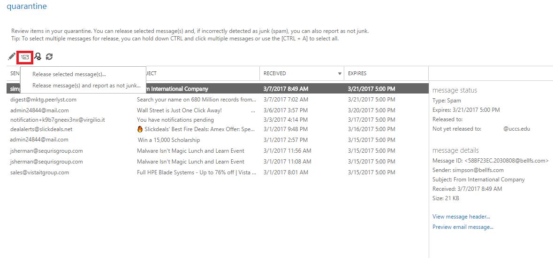 Releasing Quarantined Email: Quarantine Portal - Help Desk